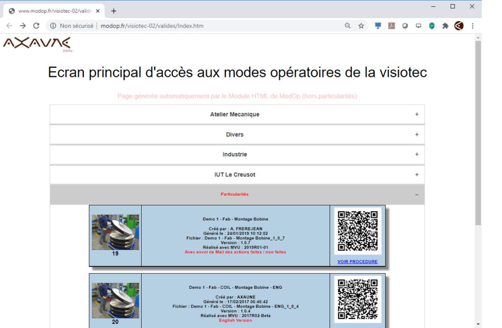 Exemple de page d'accès aux documents